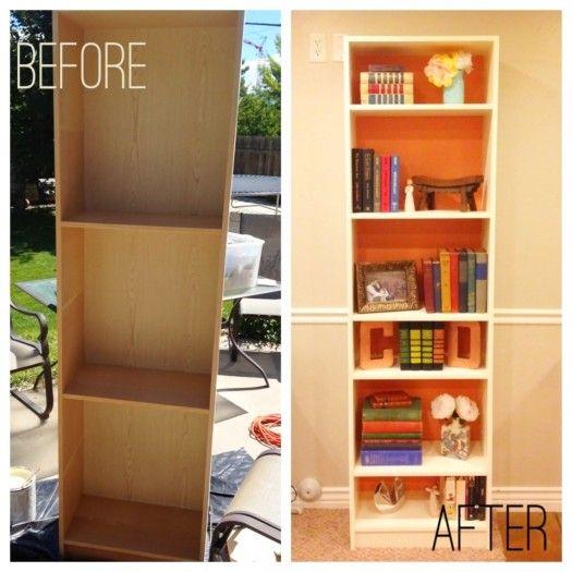 bookshelf makeover DIY