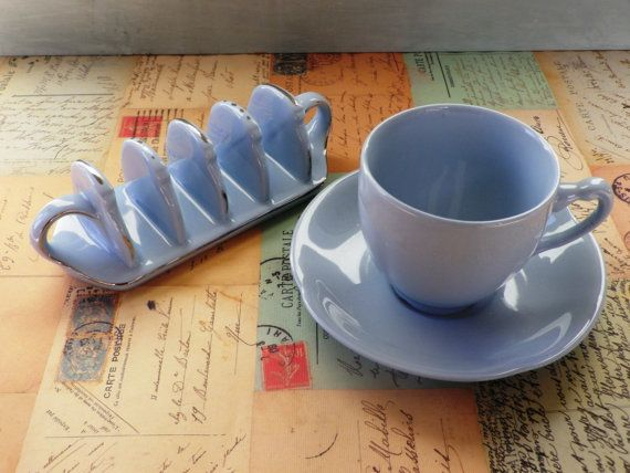 A Johnsons 'Greydawn' vintage breakfast set - teacup and saucer and toast rack, utility ware, utility china, ww2, woods ware