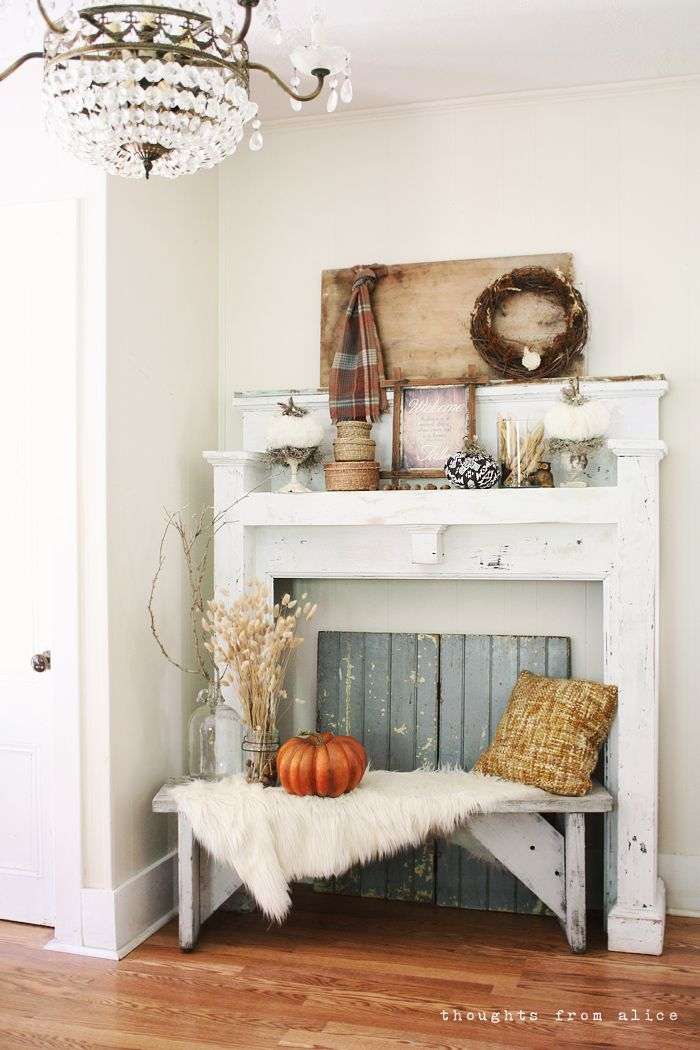 Thoughts from Alice Rustic Fall Mantel Vignette