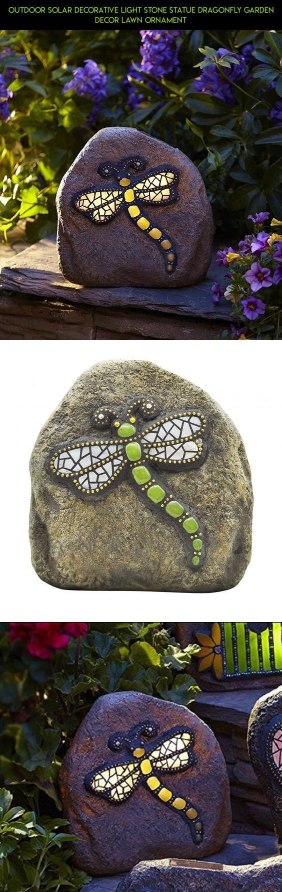 Outdoor Solar Decorative Light Stone Statue Dragonfly Garden Decor Lawn Ornament Gadgets Kit