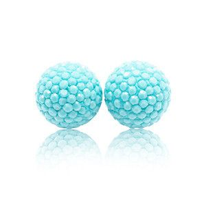 Sparkle Ball Stud Earrings in Mediterranean Blue by Hillberg & Berk