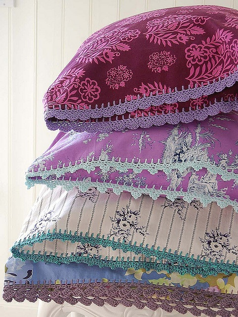 Pillowcases with a crocheted edge...so pretty