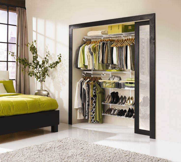 You measure your space, shop for the closest fit in a ready-to-go setup like this adjustable one from Rubbermaid, and screw standards to studs on the back wall. About $90–$180.  Tip: Be flexible. Wardrobes change and so do closet owners, so buy or build a system with adjustable-height shelves and rods, using easy-to-reposition screws or shelf-standard clip-ins.