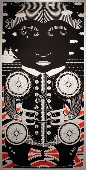 "Portrait by Johnson Witehira, a Maori artist from New Zealand from his solo show ""Ko Aotearoa Tenei"" (This is New Zealand). One of a series of Captain James Cook"