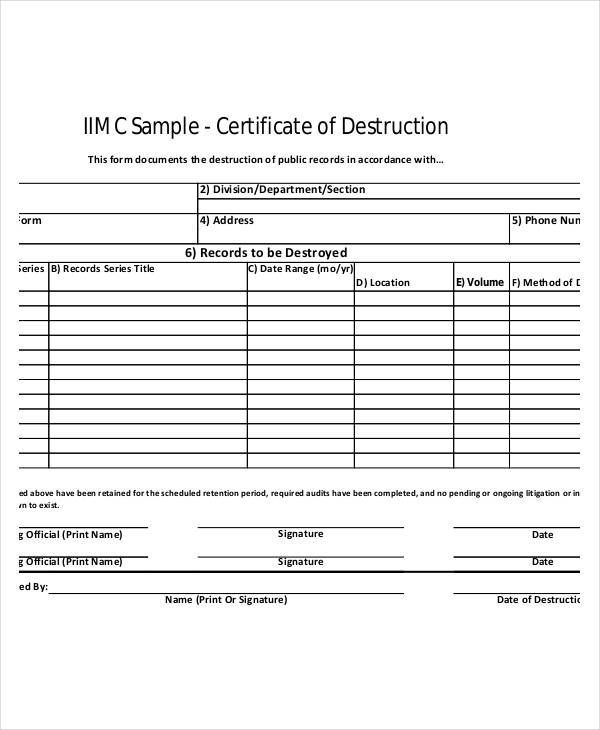 Samples Of Certificate Of Destruction Template In 2021 Hard Drive Destruction Certificate Template Destruction