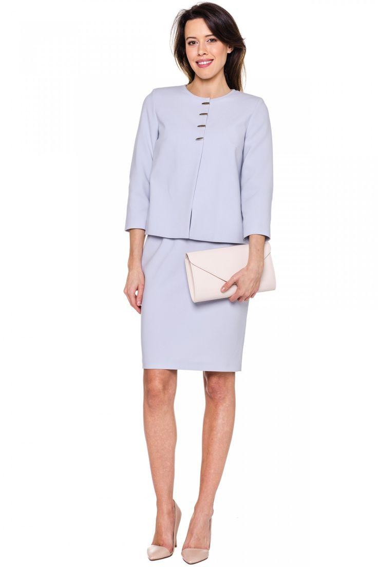 Szary żakiet na 4 napy - Kumi  #kumi #fashion #elegance #ss17 #spring #grey #lightgrey