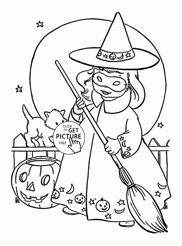 cute witch halloween coloring pages - photo#4