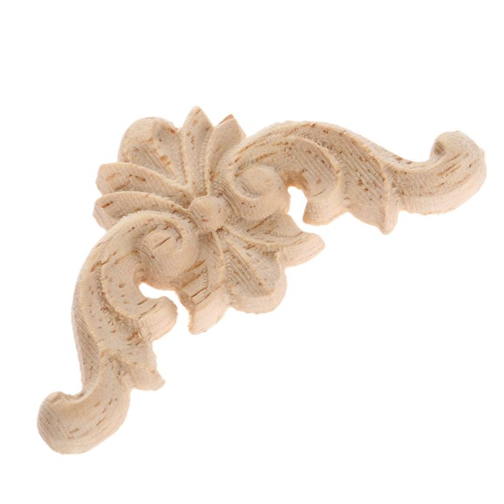 New Arrival1PC 4*4cm Wood Carved Corner Onlay Applique Unpainted Furniture Decorative Figurines Wooden Miniature