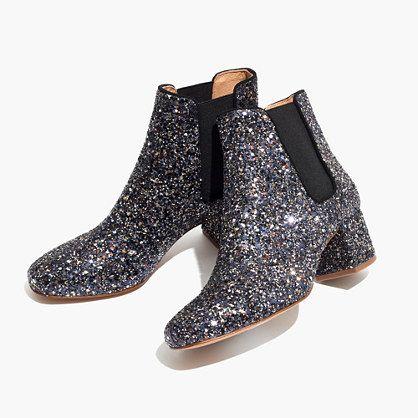 "In undeniably fun sparkles, these glitter Chelsea boots give a nod to timeless '60s styles. The not-too-high heel is made for adventuring day or night. When you select your size, ""H"" equals a half size. <ul><li>4 3/4"" shaft height (based on size 7).</li><li>2"" heel.</li><li>Glitter upper.</li><li>Leather lining.</li><li>Man-made sole.</li><li>Import.</li><..."