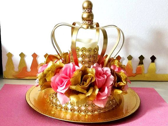NEW Royal Princess Baby Shower CROWN Centerpiece /Girls Royal Pink and Gold Baby Shower Theme and Decorations