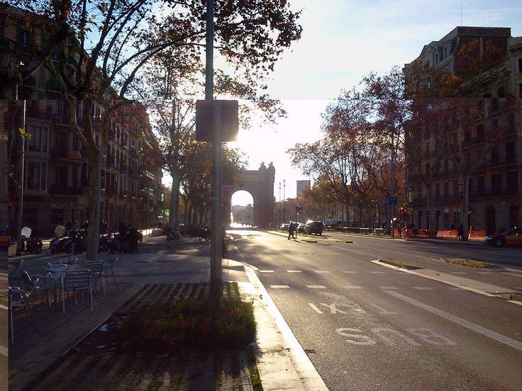 Llegando al Arc de Triunf en Barcelona