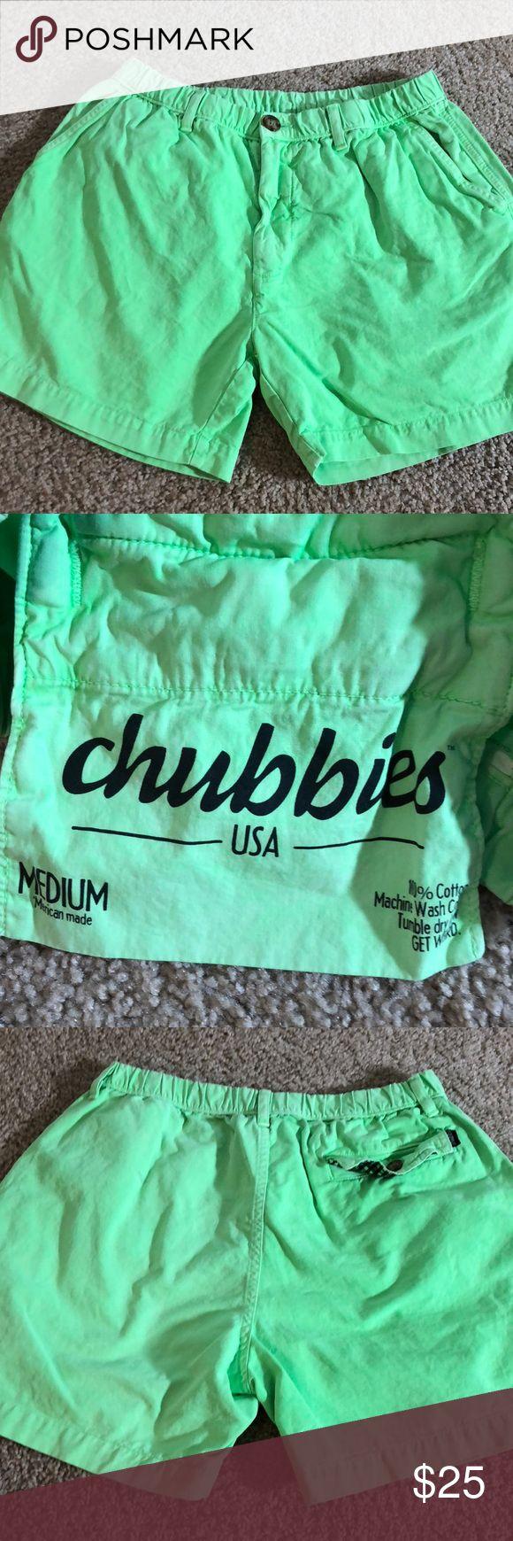 Men's chubbies lime green shorts size medium m Gently used size medium chubbies Shorts Flat Front
