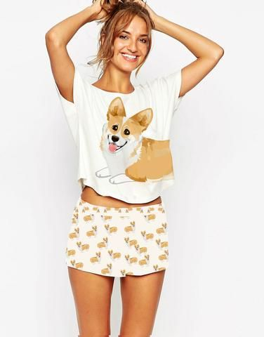 The full set is finally here! Save money when you buy the set and don't forget, FREE shipping!--Have a Corgi or just love the cute little critters?  Well this super cute Pajama set is perfect for you! These PJ's are perfect for loun...