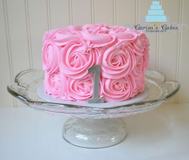 Carisa's Cakes: Vintage Pink Rose Swirl Smash Cake
