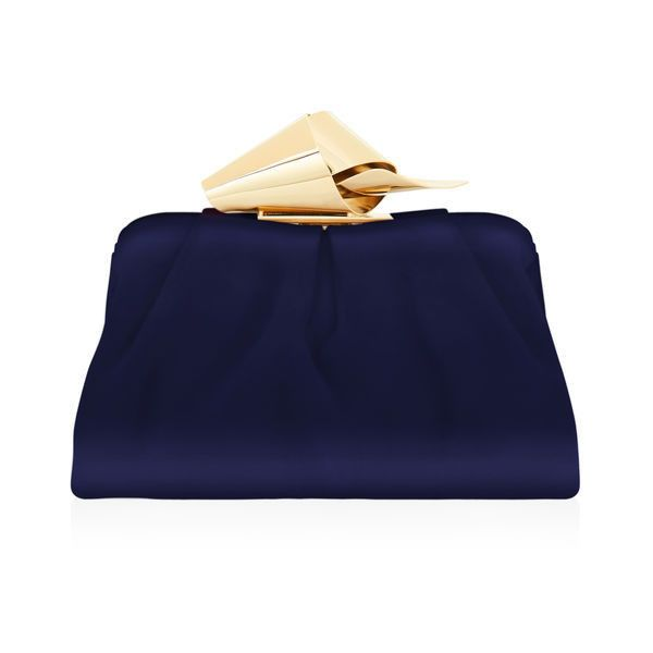 Navy Satin Evening Clutch Bag ($1,950) ❤ liked on Polyvore featuring bags, handbags, clutches, evening purses, slouch handbags, navy purse, slouchy purse and jimmy choo clutches
