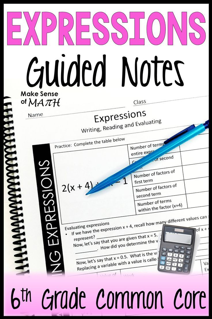 Check Out These Expressions Notes As Your 6th Grade Math Students Learn About Reading Writing Expressions Evaluating Expressions Writing Algebraic Expressions [ 1104 x 736 Pixel ]