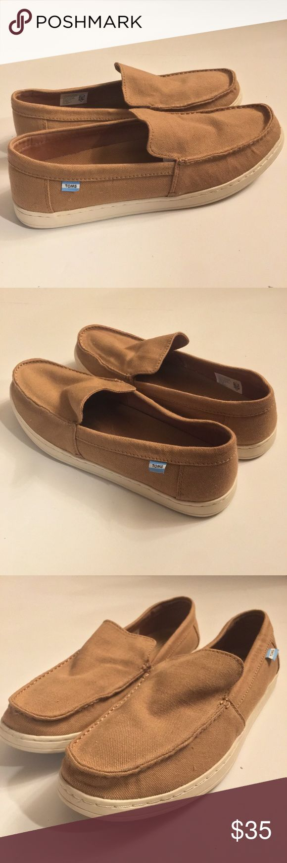 TOMs Aiden toffee hemp slip on loafers Slip-on style with moccasin-inspired details Toffee hemp upper Folded collar and moc stitch detail Removable footbed for comfort fights bacteria Rubber outsole for traction  Excellent used condition Toms Shoes Loafers & Slip-Ons