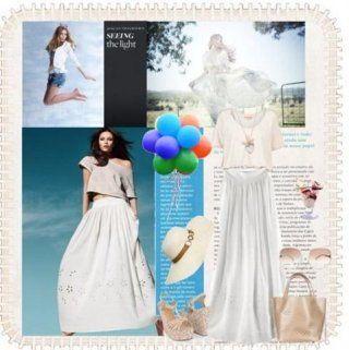 Белая юбка-макси с перфорированным цветочным декором и молочным топом на одно плечо в сочетании с бежевой сумкой и такого же цвета босоножками на танкетке
