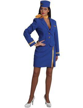 Air Hostess fancy dress costume includes skirt, jacket and hat.