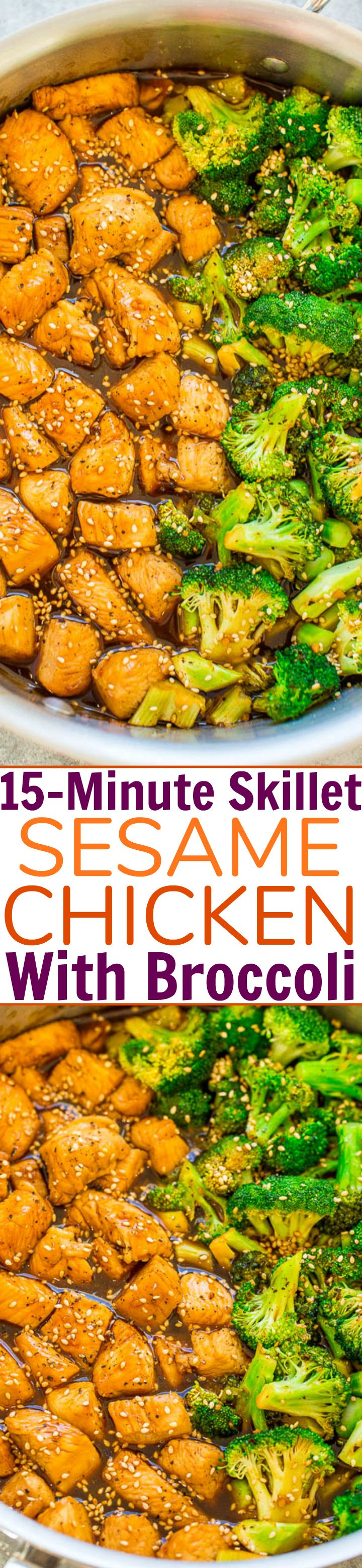 15-Minute Skillet Sesame Chicken with Broccoli – HEALTHIER sesame chicken that isn't breaded or fried!! You won't miss the fat or calories in this FAST and EASY version that's loaded with Asian-inspired flavors! You can happily skip takeout now!!