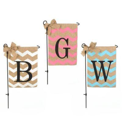 Chevron Burlap Monogram Garden Flag | Kirkland's