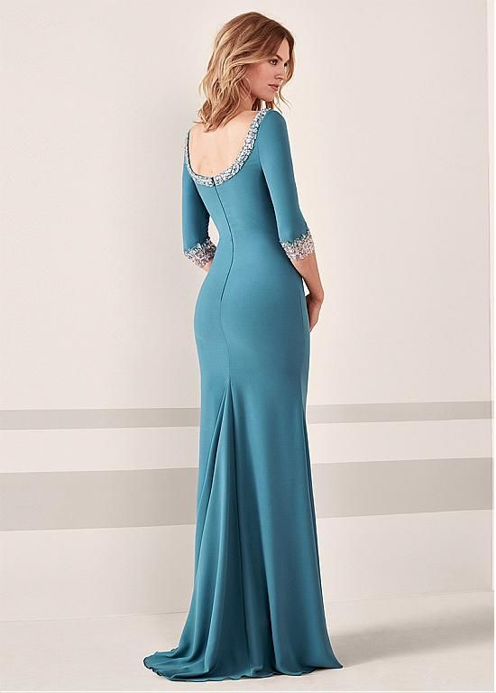 461e033f09e Buy discount Modest Simiantan Bateau Neckline 3 4 Length Sleeves  Sheath Column Evening Dress With Beadings at Magbridal.com