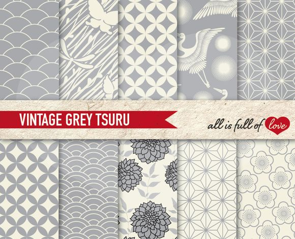 Grey Japanese Koi Fish Patterns by All is full of Love on @creativemarket