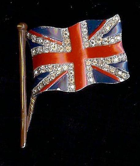 Trifari 'Alfred Philippe' Sparkling British Waving Flag Pin/Brooch 1940s