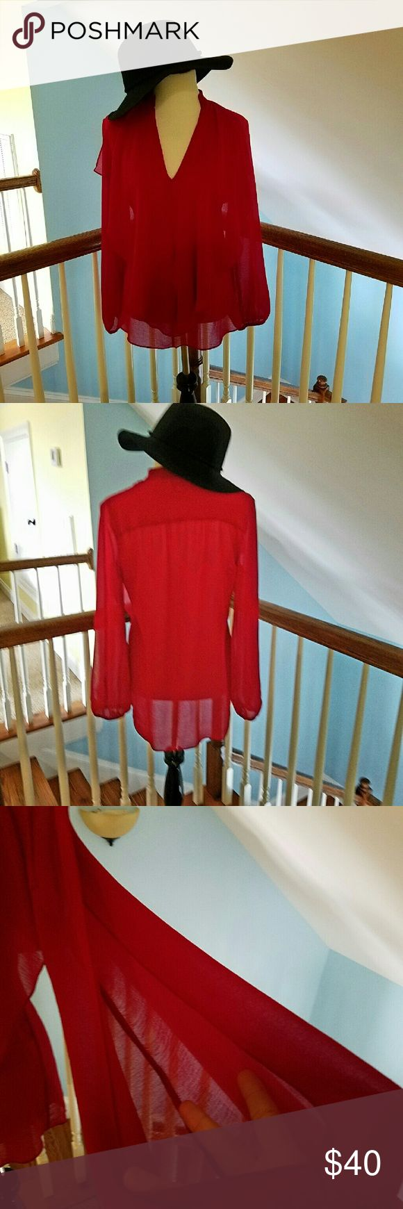 NWOT Red Atina Christina Top Brand new never worn.  Lost weight and now it's too big.  Check out the sleeves in pic three.   Wear a cami underneath.  100% Polyester Hand wash cold or dry clean 20% OFF BUNDLES OF TWO OR MORE Atina Christina  Tops