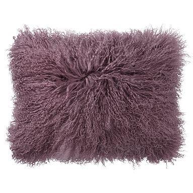 Mongolian Fur Pillow Covers 12 x 16, Dusty Purple