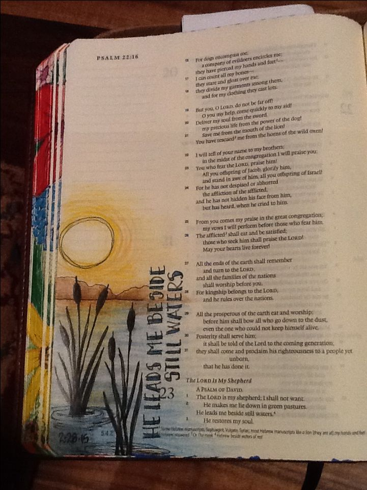 Psalm 23:2. Sherrie Bronniman - Art Journaling: In My Bible