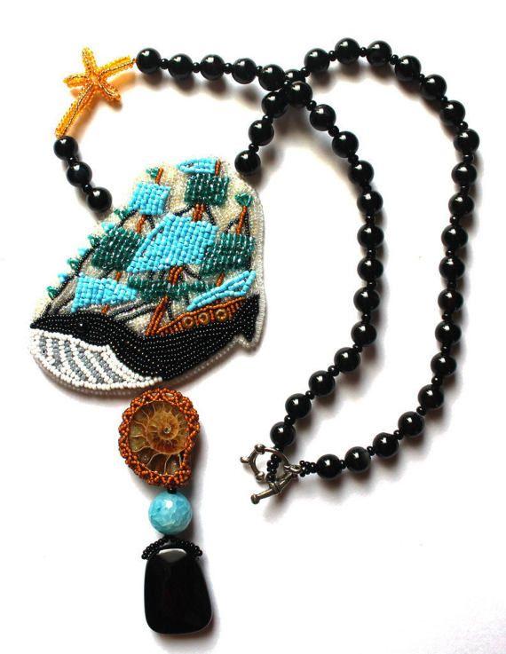 Bead embroidered jewelry Beaded jewelry Beaded pendant