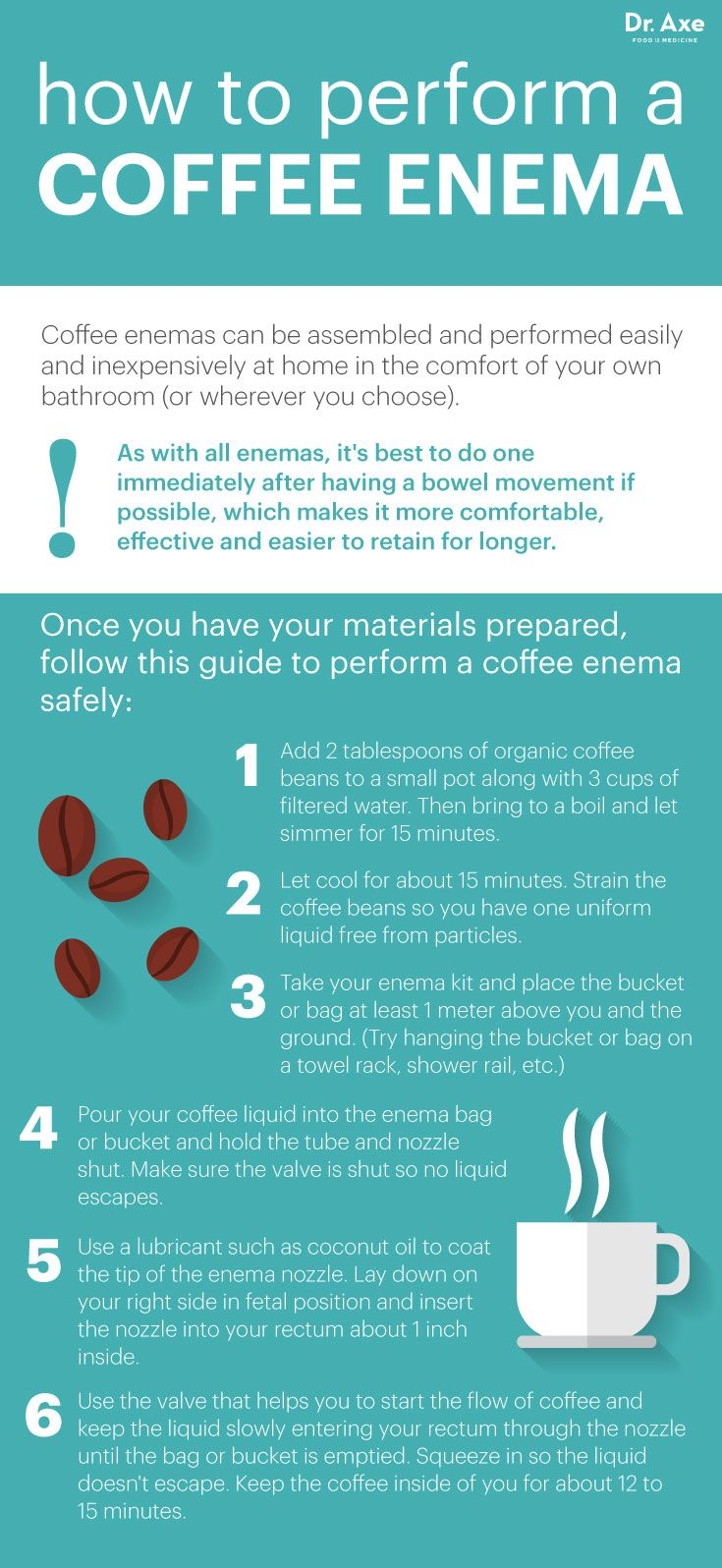 How To Perform a Coffee Enema by Dr. Axe | Holistic | Digestion | Heath Infographic