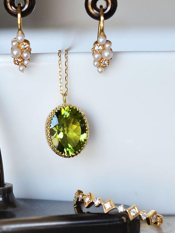 K18YG製ペリドットダイアモンド洋彫り彫金フィレンツェ彫りペンダントネックレスシードパールダイアモンドピアス ダイアモンドハーフエタニティリングGold Peridot Diamond engraving pendant seed pearl diamond earrings diamond half eternity ring