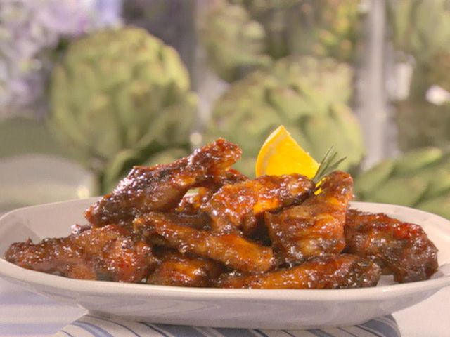 Hot and Sticky Wings - Sandra Lee; After baking you put the wings into a crock pot - can have all day long