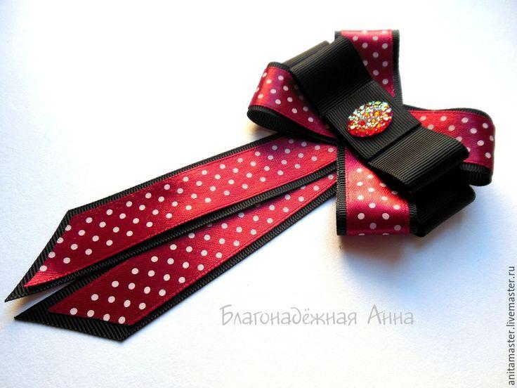 Купить Галстук-брошь в горошек. - чёрный, галстук, брошь, ручная работа, для девушки