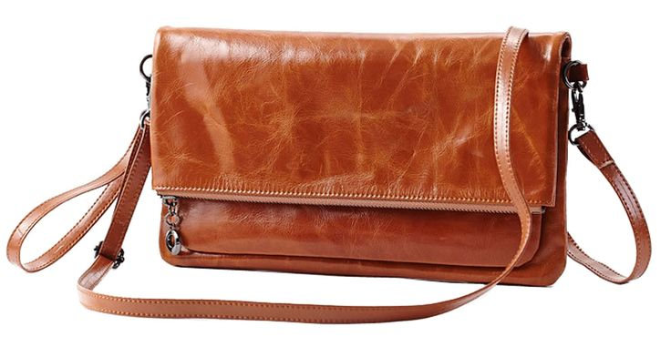 "Hereby Kuer(TM) Women's Genuine Leather Shoulder Bag Cross Body Handbag Messenger satchel Purse Clutch (Brown). Zippered closure. 2 generous main pocket +1 invisible zippered pocket inside+1 zippered pocket outside+6 card slots. Have cell phone pocket, ID slot. Easily hold your Iphone6/wallet/ Cosmetics and other daily things . Removable and adjustable shoulder strap, you can have 3 carrying options (Single shoulder, cross body and hand carry). Size info: (L)10.63"" * (W)0.98""* (H)5.91""in..."
