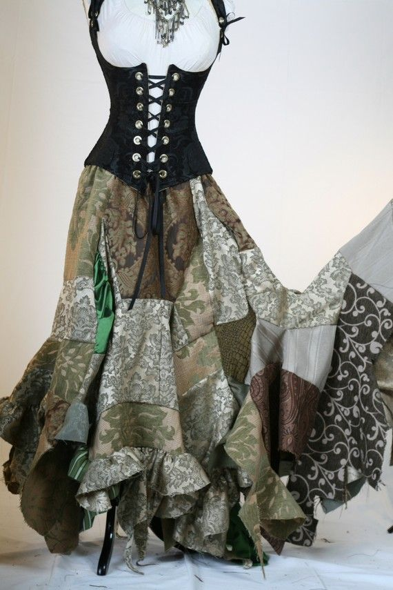 Corsets Pagan Skirts Wicca Witch: #Corset and Patchwork #Skirt, by damselinthisdress.