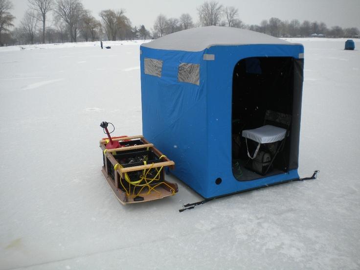 Best 25 ice shanty ideas on pinterest ice fishing for Ice fishing shelter