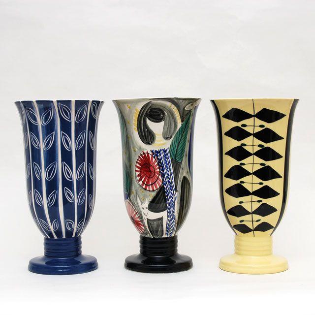 Vases by Norwegian artist Inger Waage (active 1953-1979.)