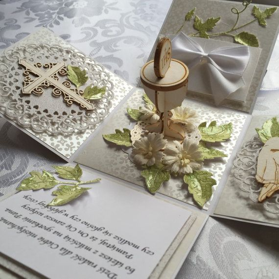 Handmade First Holy Communion Card / exploding by scrapproject2014