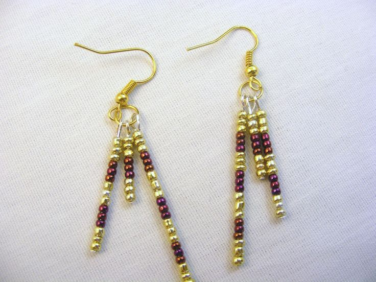Earrings Hook Dangle Gold-Color & Dark Red Beads Sports Team Colors  Free Shipping