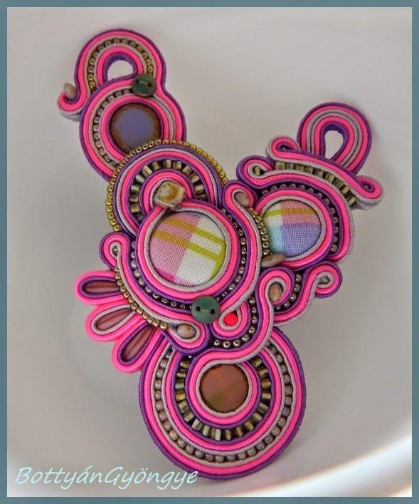 Pink - lila aszimmetrikus sujtás nyaklánc / medál / Pink - Purple asymmetric soutache necklace / pendant