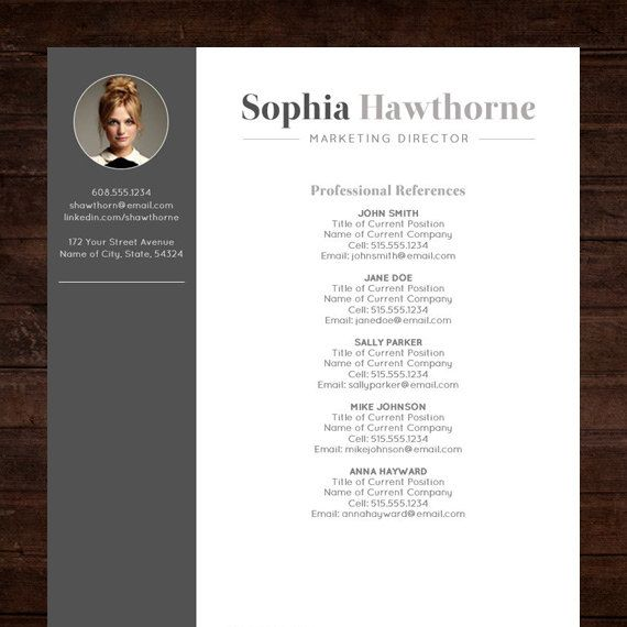 Professional Resume Template With Photo Modern Cv Word Etsy Resume Template Free Cover Letter Resume Template Professional