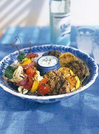 Brochettes de légumes à la grecque