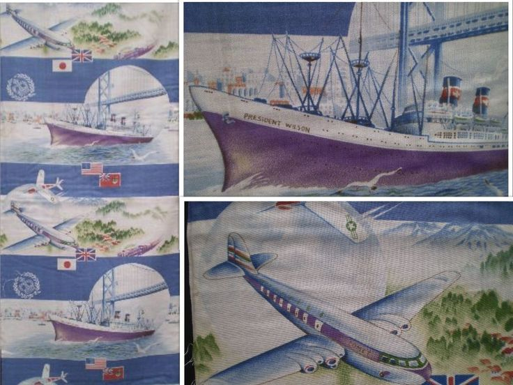 Kimono fabric showing a B.O.A.C. De Havilland Comet, the square windows on the fuselage would date it to be 1952-1953. This particular window design was responsible for quite a few accidents, and were replaced with the traditional round windows in 1954. Also shown is a Gruman F-9 Cougar aircraft, the S.S. President Wilson, and the Canadian Pacific Railway. The National flags of Japan, Great Britain, America, and Canada are also depicted.