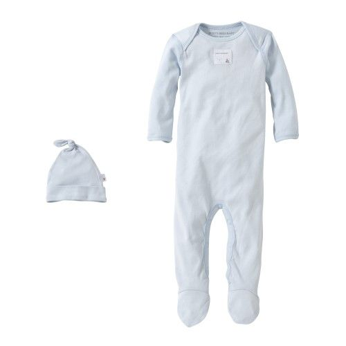 Burt's Bees Baby Organic Solid Footed Coverall + Knot Top Hat Set, 3M, Sky | Jet.com