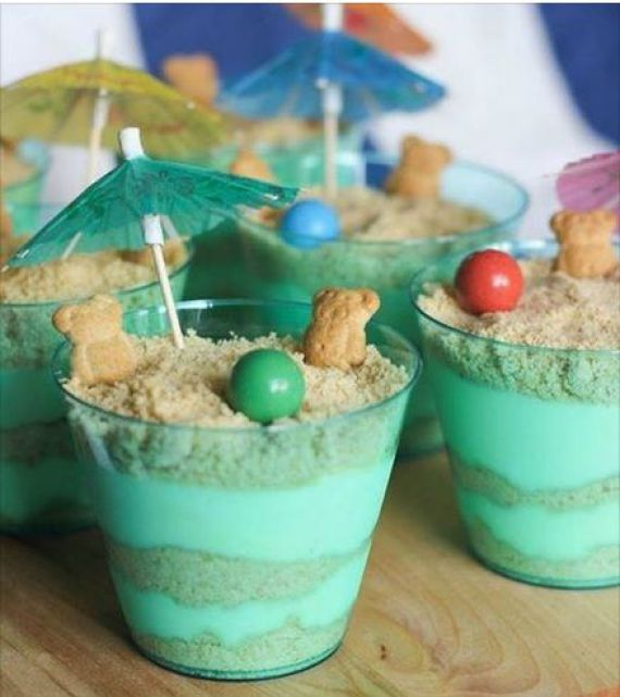 Add a fun spin on dessert with Summer Sand Pudding. Create this layered sand pile in a bucket with fun beachy accents.
