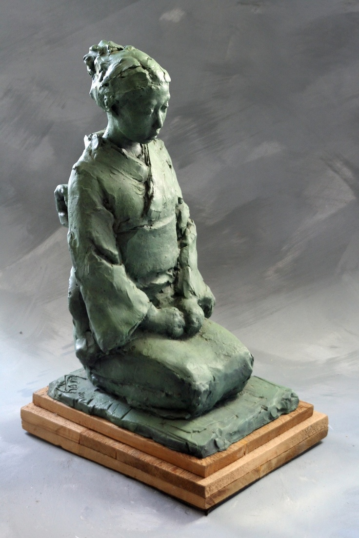 """""""Yoko"""" by Leroy Transfield. 19"""" Terracotta or Limited Edition Bronze. Gold medal winner, National Sculpture Society Exhibition, 2001. For more information, please click through."""