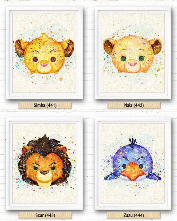 Lion King Scar Print Disney Tsum Tsum Watercolor Painting